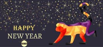 Neues Jahr, Weihnachtsfahne, Symbol des roten Affen gemacht von den Dreiecken Stockfotografie
