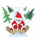 Neues Jahr, Weihnachtsmann-Pferdeschlitten Stockfotos