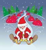 Neues Jahr, Weihnachtsmann-Pferdeschlitten, Geschenke Lizenzfreie Stockfotos