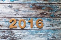 Neues Jahr, 2016, Zahlen gemacht von der Pappe Stockfotografie