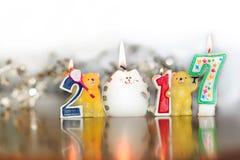 Neues Jahr 2017 Zahlen, Hintergrund, Bild, conflagrant Kerze Lizenzfreies Stockbild