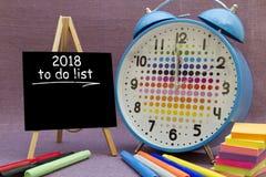 2018 neues Jahr, zum der Liste zu tun Lizenzfreies Stockfoto
