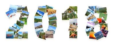 2018 neues Jahr Zwei tausend achtzehn Zahlen werden von Kanada-Landschaften gemacht Lizenzfreies Stockbild