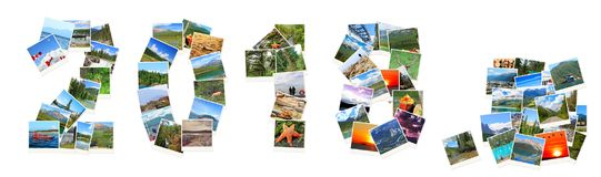 2018 neues Jahr Zwei tausend achtzehn Zahlen werden von Kanada-Landschaften gemacht Stockbild