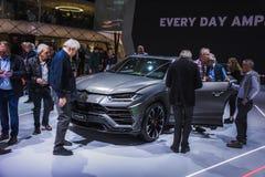 Neues Lamborghini Urus Ausstellungs-Mitte in Genf im Jahre 2019 stockbild