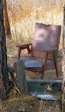 Neues Leben zu den alten weggeworfenen Sachen Stuhl im Wald unter dem Offenen Himmel Lizenzfreie Stockfotos