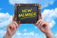 Neues Mitgliedszeichen Stockbild