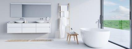 Neues modernes Badezimmer mit einer schönen Aussicht Wiedergabe 3d stockbilder