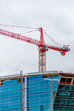 Neues modernes Glashotel im Bau an Durchmesser Stockbild