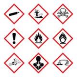 Neues Piktogramm GHS 9 Gefahren Riskieren Sie Warnzeichen WHMIS, lokalisierte Vektorillustration stockfotografie