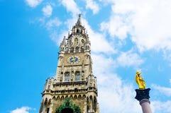 Neues Rathaus Marienplatz的新市镇霍尔在慕尼黑,巴伐利亚,德国 图库摄影
