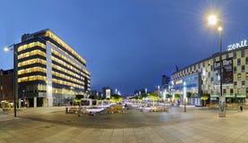 Neues Rathaus und Hauptplatz in Katowice Stockbilder