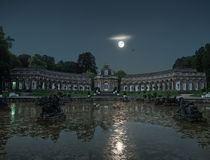 Neues Schloss Eremitage Bayreuth early in the morning stock photo