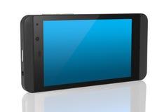 Neues Smartphone mit blauem leerem Bildschirm Stockbilder