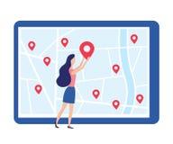 Neues Standortbüro oder -Shop Frau und Aufkleber auf Karte Neue Adresse Vektor lizenzfreie abbildung