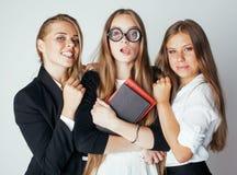 Neues Student bookwarm in den Gläsern gegen zufälliges Lizenzfreies Stockfoto