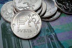 Neues Symbol ein-Rubel-Münzen Stockbild