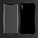 Neues Telefon vorder und schwarzes Vektorformat lokalisiert auf transparentem Hintergrund Lizenzfreie Stockfotos