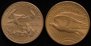 Neues US-Gold Eagle Coin gegen Altes US-Golddoppeltes Eagle Coin Stockfotos