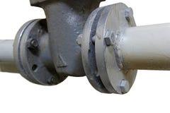 Neues Wasserleitungs- und Wasserventildetail Lokalisiert auf weißem backgro Lizenzfreie Stockfotografie