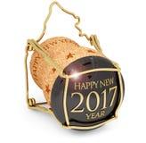 Neues year& x27; s-Champagnerkorken 2017 vektor abbildung