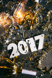 2017 neues Year& x27; s Eve Grunge Background Stockfotografie