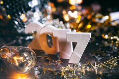 2017 neues Year& x27; s Eve Stacked Number Grunge Background Lizenzfreie Stockfotos
