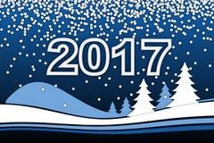 Neues Year& x27; s-Karte und Zeichen 2017 stock abbildung