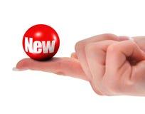 Neues Zeichen auf Finger Stockfoto