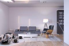 Neues zeitgenössisches Wohnzimmer mit Sofa und Lehnsessel stock abbildung