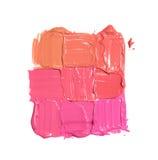 Neuf échantillons de différentes couleurs de rouge à lèvres sous forme de place Photos stock
