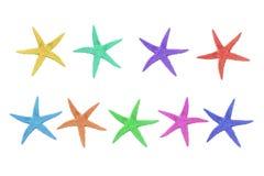 Neuf étoiles de mer colorées sur un fond blanc Photographie stock libre de droits