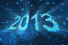 An neuf 2013 de salutations de briller les éléments bleus Images libres de droits