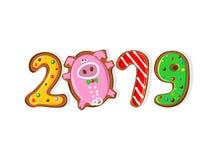 An neuf 2019 ans du PORC Biscuits de gingembre sous forme de nombres Biscuits drôles de porc Vecteur Illustration de Vecteur