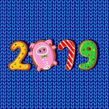 An neuf 2019 ans du PORC Biscuits de gingembre sous forme de nombres Tissu tricoté par modèle Vecteur Illustration de Vecteur