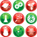 Neuf boutons 1 de graphismes de Noël Photos libres de droits