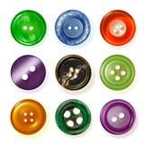 Neuf boutons de couture. Photographie stock libre de droits