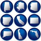 Neuf boutons des Etats-Unis illustration de vecteur