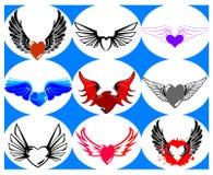 Neuf coeurs tous neufs sur les ailes. Image stock