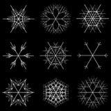 Neuf conceptions de flocons de neige Image libre de droits