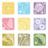 Neuf dans une étiquette florale Image libre de droits
