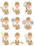 Neuf expressions du visage différentes des ouvriers illustration de vecteur