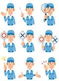 Neuf expressions du visage différentes des ouvriers illustration libre de droits