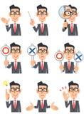 Neuf expressions et gestes différents des hommes d'affaires portant g illustration de vecteur