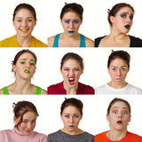 Neuf expressions faciales colorées utiles Photo stock