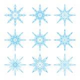 Neuf flocons de neige d'ensemble réglés pour la conception Bleu sur le fond blanc illustration de vecteur
