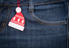 An neuf, fond de Noël Texture de jeans Image stock