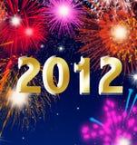 An neuf heureux 2012 avec des feux d'artifice illustration de vecteur