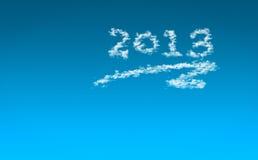 An neuf heureux 2013/ciel avec les nuages 2013 Photo stock