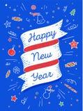An neuf heureux Bannière de ruban dans le style coloré lumineux Image stock